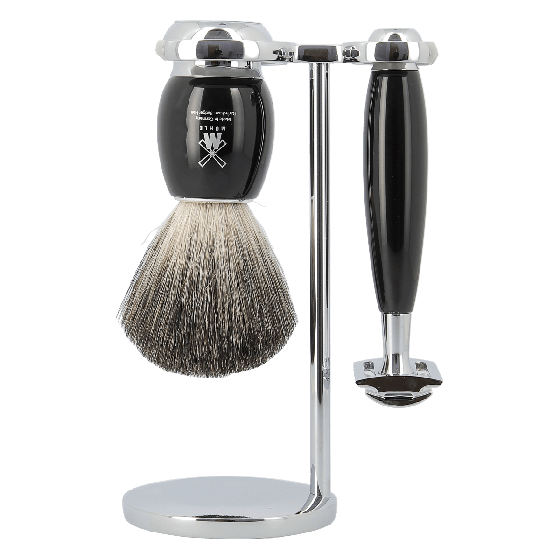 MUHLE S81M336SR Vivo Black Resin Pure Badger 3-Piece Shaving Set