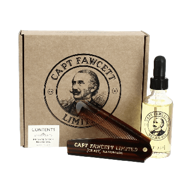 Captain Fawcett's Private Stock Beard Oil and Comb Set
