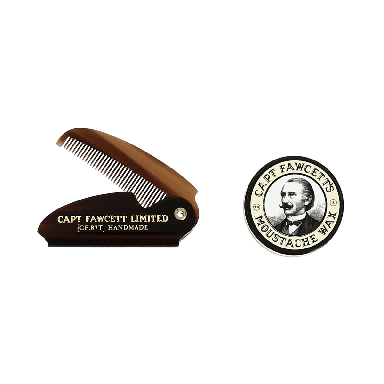 Captain Fawcett's Sandalwood Moustache Wax and Folding Moustache Comb
