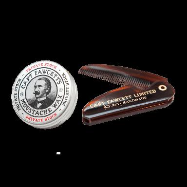 Captain Fawcett Expedition Strength Moustache Wax & Folding Pocket Moustache Comb