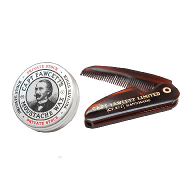 Captain Fawcett Expedition Strength Moustache Wax and Folding Pocket Moustache Comb