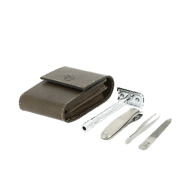 Dovo Double Edge Razor & Grooming Set Brown Leather Pouch 574056