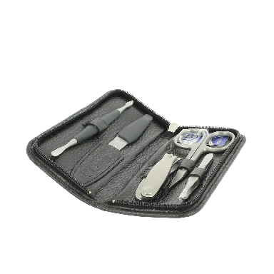Dovo 5 Piece Manicure Set in Slim Black Leather Zip Case 511016