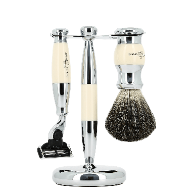 Edwin Jagger 3 Piece Ivory & Chrome suitable for Mach 3 Shaving Set (S81M357CR)