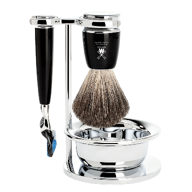 MUHLE S81M226SF Rytmo Black 4-piece Pure Badger Resin Fusion Shaving Set