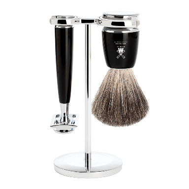 MUHLE S81M226SR Rytmo Black 3-Piece Pure Badger Shaving Set