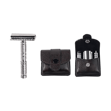 Parker A1R Travel Safety Razor with Leather Case