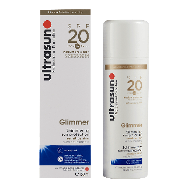 Ultrasun Glimmer Shimmering Sun Lotion for Sensitive Skin SPF 20 150ml