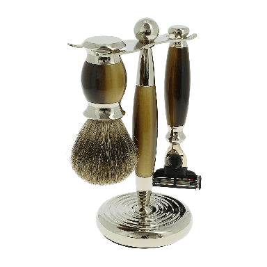 Vulfix Edwardian Faux Horn Shaving set suitable for Mach 3