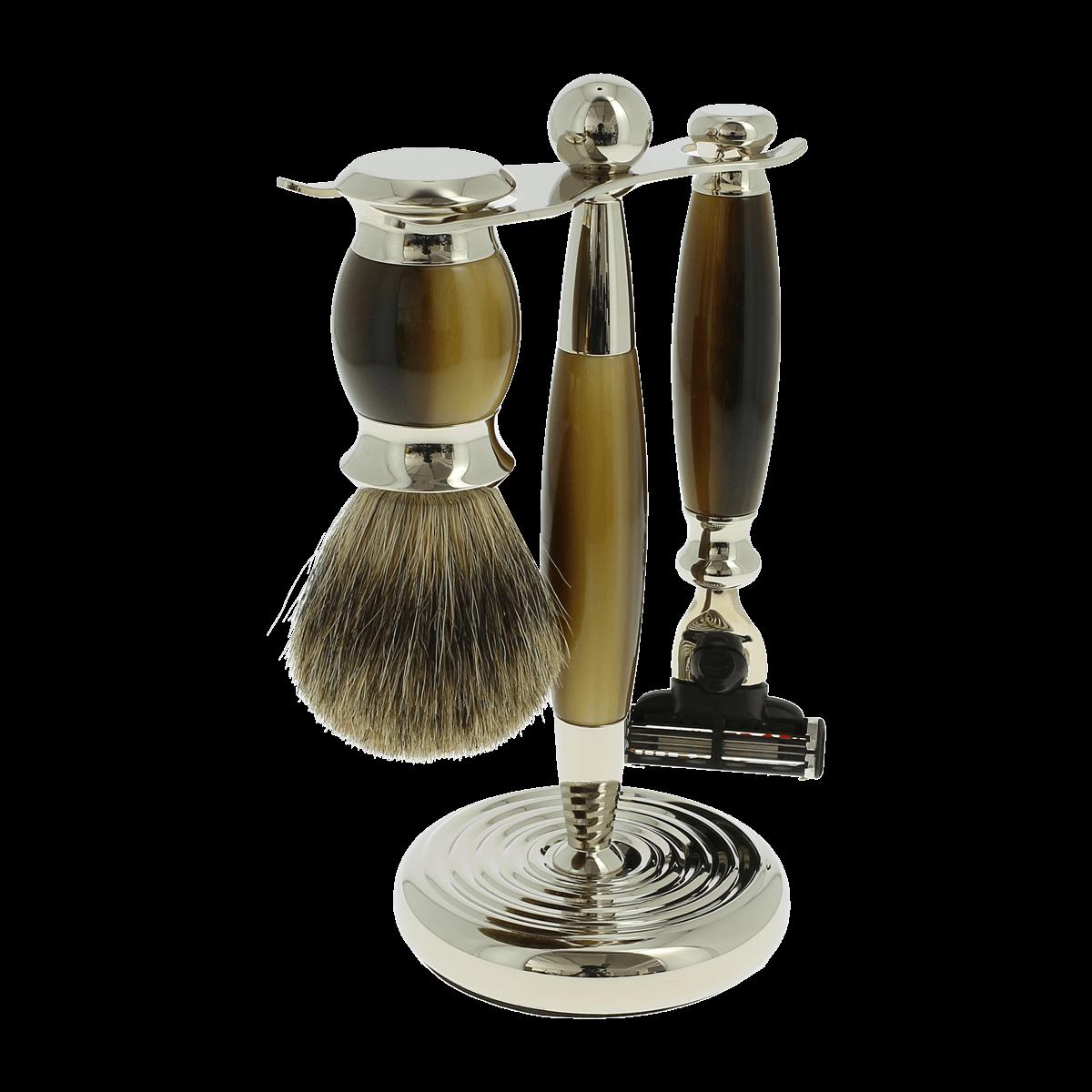 Vulfix Edwardian Faux Horn Shaving set suitable for Mach 3