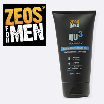 buy any two zeos for men products and get a free QU3 hair & body shower gel