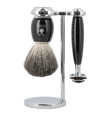 MUHLE S81M336SR Vivo Black Resin Pure Badger 3-Piece Shaving Set