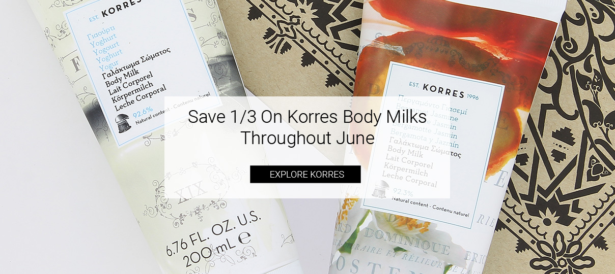 save 1/3 on all korres body milks