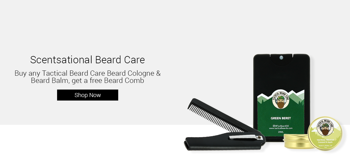 Buy any Tactical Beard Care Beard Cologne and Balm, get a free Beard Comb