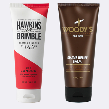 Buy the Hawkins and Brimble Pre Shave Scrub and Save 50% on the Post Shave Balm