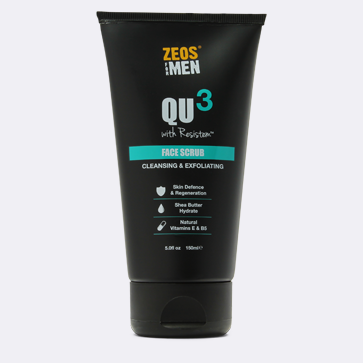 Exfoliate your skin with Zeos Qu3 face scrub