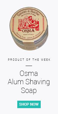 Our pick of the week for stopping shaving rash is Osma Alum Shaving Soap