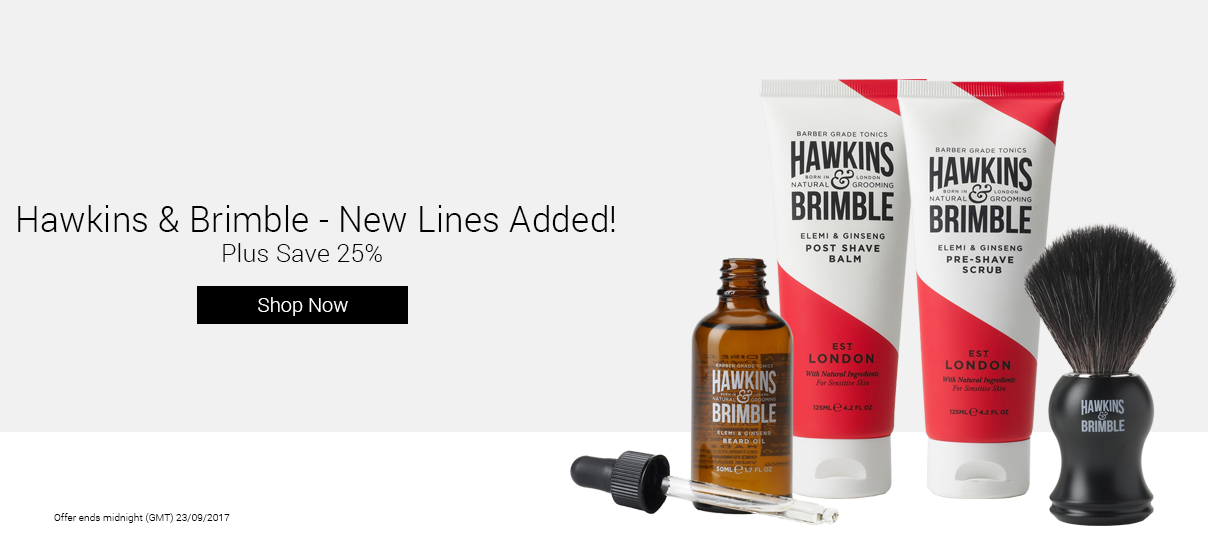 25% Off Hawkins & Brimble, including their new lines!